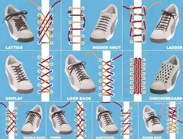 Esistono diversi modi di legare i lacci delle vostre scarpe, per cambiare e dare un tocco di originalità, guardate questa tabella e la relativa descrizione e prendete spunto.