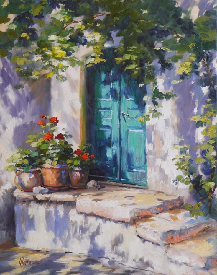 Painter Ute Herrmann Geraniums In The Light 100 80 Cm