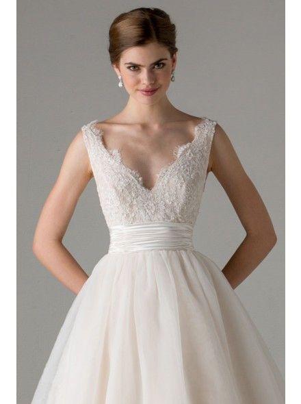 Sweet V-neck Natural Floor Length Satin Ivory Sleeveless Wedding Dress with Appliques LWXF15015 #dress #landybridal