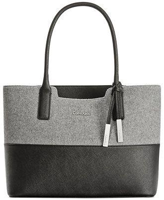 Calvin Klein Wool Tote - Calvin Klein - Handbags & Accessories - Macy's
