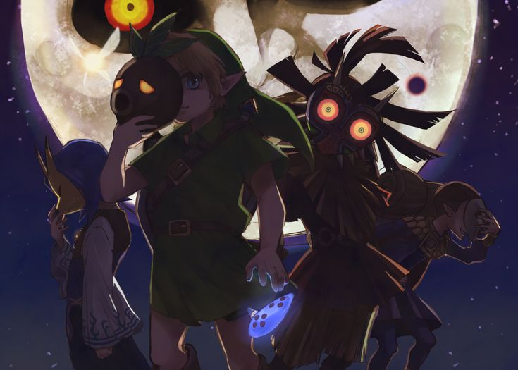 The Legend of Zelda: Majora's Mask | Young Link, Skull Kid, Tatl, Tael, Kafei, The Happy Mask Salesman, and The Moon / 「行こうか」/「オットン」のイラスト [pixiv]