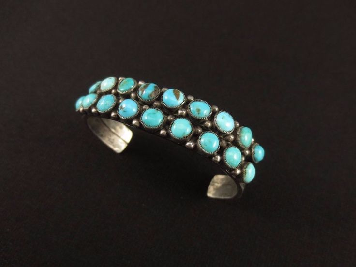 Antique Navajo Bracelet - Coin Silver Ingot and Turquoise