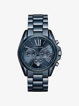 Oversize Bradshaw Blue Watch by Michael Kors