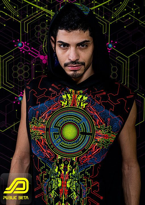 Trancemitter D48 Vest & Trousers by Public Beta Wear Psychedelic cyber visions on clothing, blacklight t-shirt, vest. Digital arts on t-shirt. Festival fashion, party wear.  Clothing: Public Beta Wear, Model: Victor Psybotic, Photography: Ted Zav Studio NY,