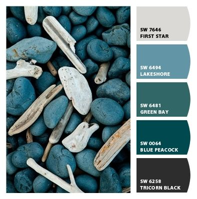 If your decorating tastes run toward a shady brook in the woods, this blue/green paint palette from #SherwinWilliams has a variety to choose from, or choose all of them!  We recommend Sherwin Williams paints.  http://www.northpinepainting.com