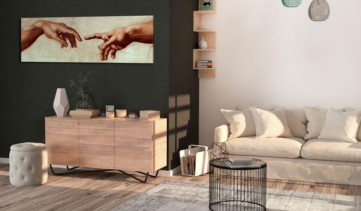 Art sacré dans le salon moderne ? Pourquoi pas :) #tableau #tableaux #artsacré # Dieu #mains #homme #décomurale #bimago