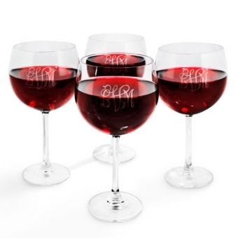 Set of 4 Balloon Wine Glasses with Monogram #personalizedgifts