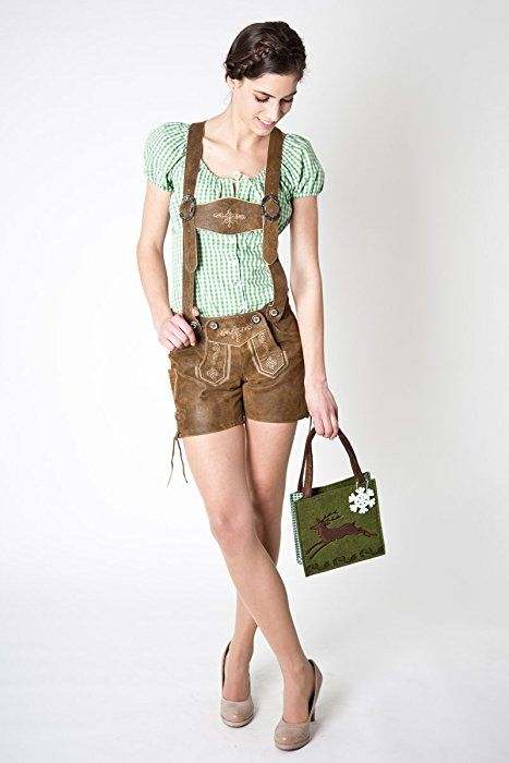 Hochwertige Damen Lederhose, antik braun, kurz, Damenlederhose, Trachtenmode für Damen (36)