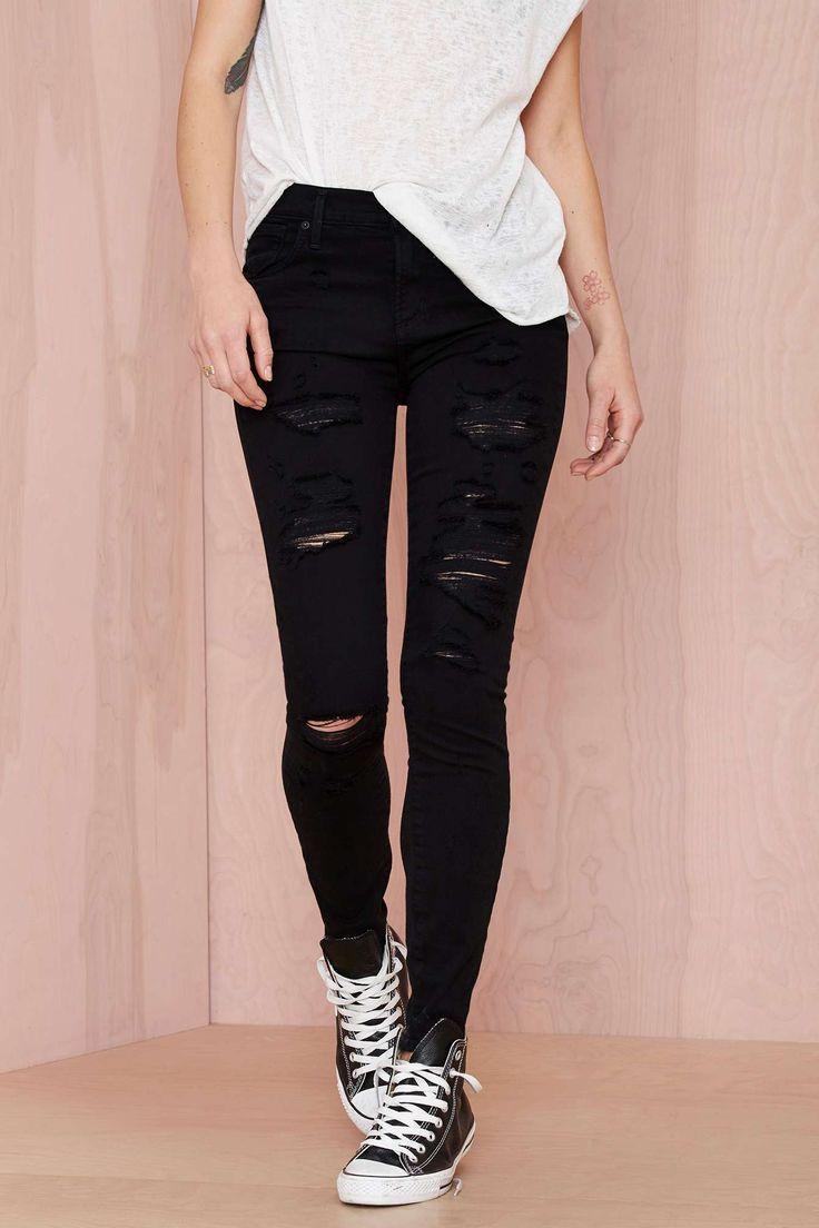 Black Ripped Skinny Jeans Women