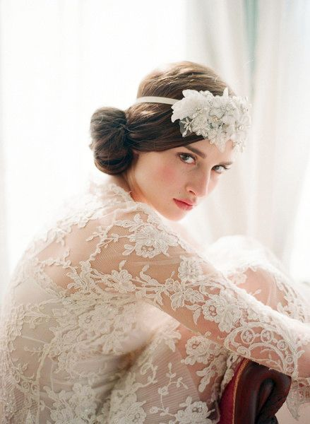 Oversized Rhinestone and Lace Headpiece  [by Elizabeth Messina for Twigs & Honey] via Everly True