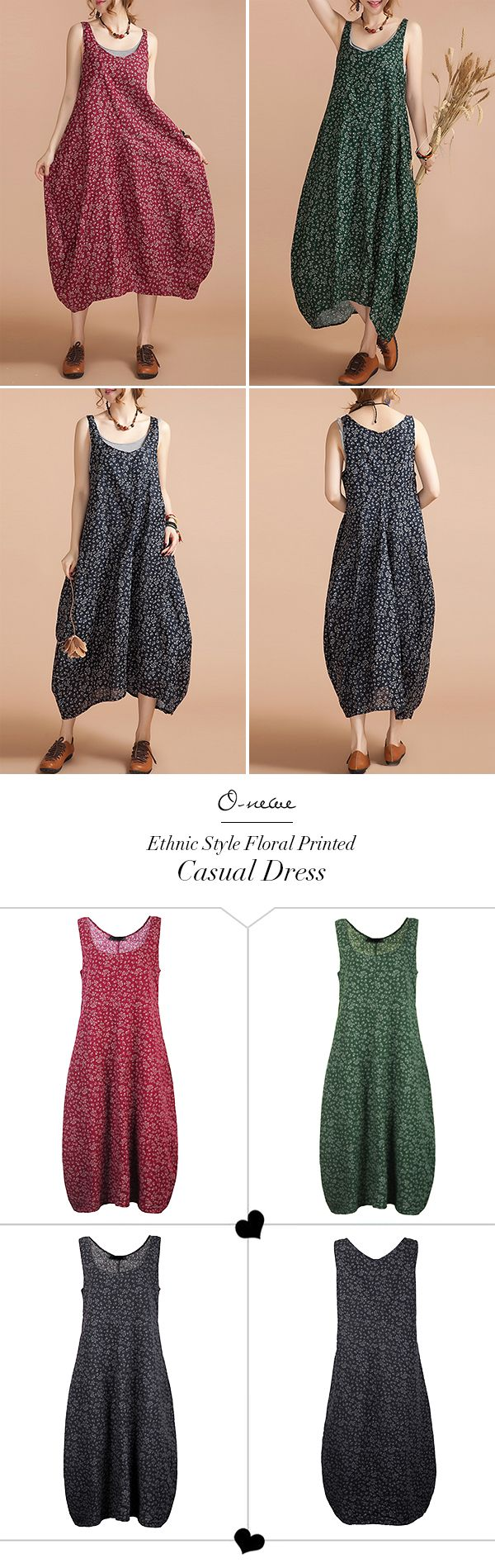 US$ 17.87 O-Newe Ethnic Style Strap Floral Printed Lantern Maxi Sundress For Women