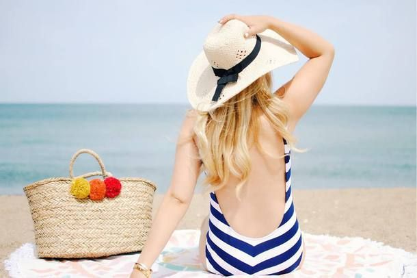 Blue And White Striped Low Back Open Back Scoop Back One Piece Swimsuit Swimwear Beachwear Beige Woven Basket Bag With Multicoloured Pompom Detail Tumblr