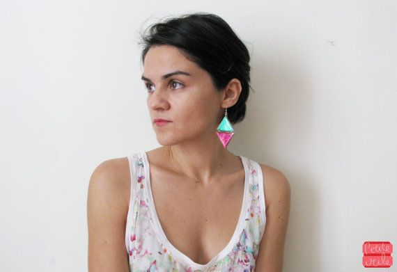 Geometric Rhombus Earrings Fuschia Green Triangle by petiteutile