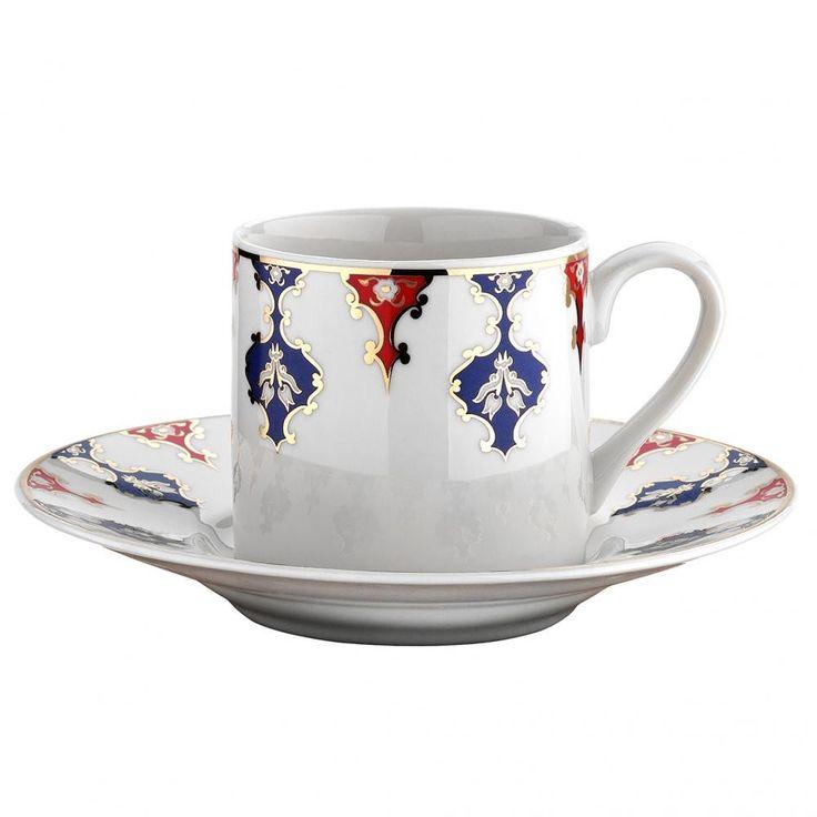 Turkish Ceramic Style Porcelain Turkish Coffee Set of Six