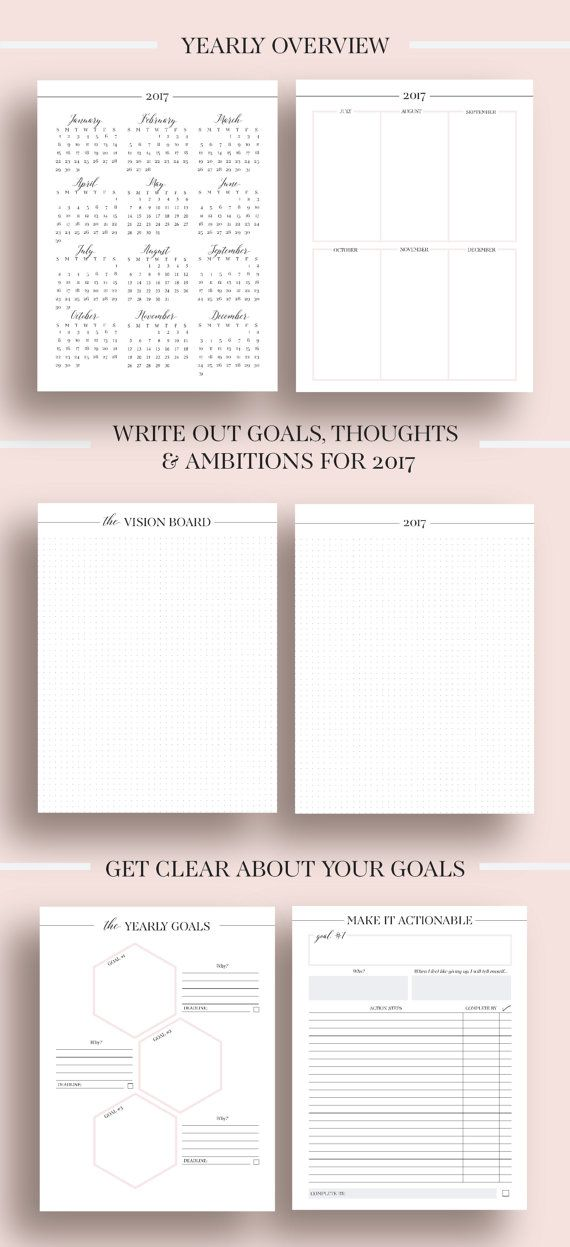 2017 Planner Printable 2017 Monthly Planner 2017 Weekly