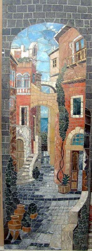Parisian Narrow Street Custom Mosaic Tile Art