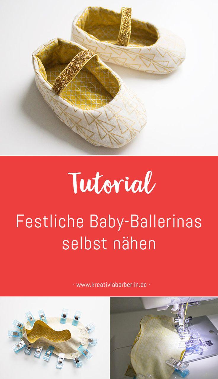 Nähanleitung: Festliche Baby-Ballerinas selbst nähen