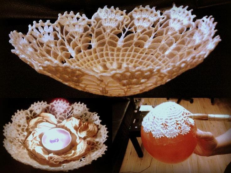 lace candle holder   lace, glue/starch, ballon