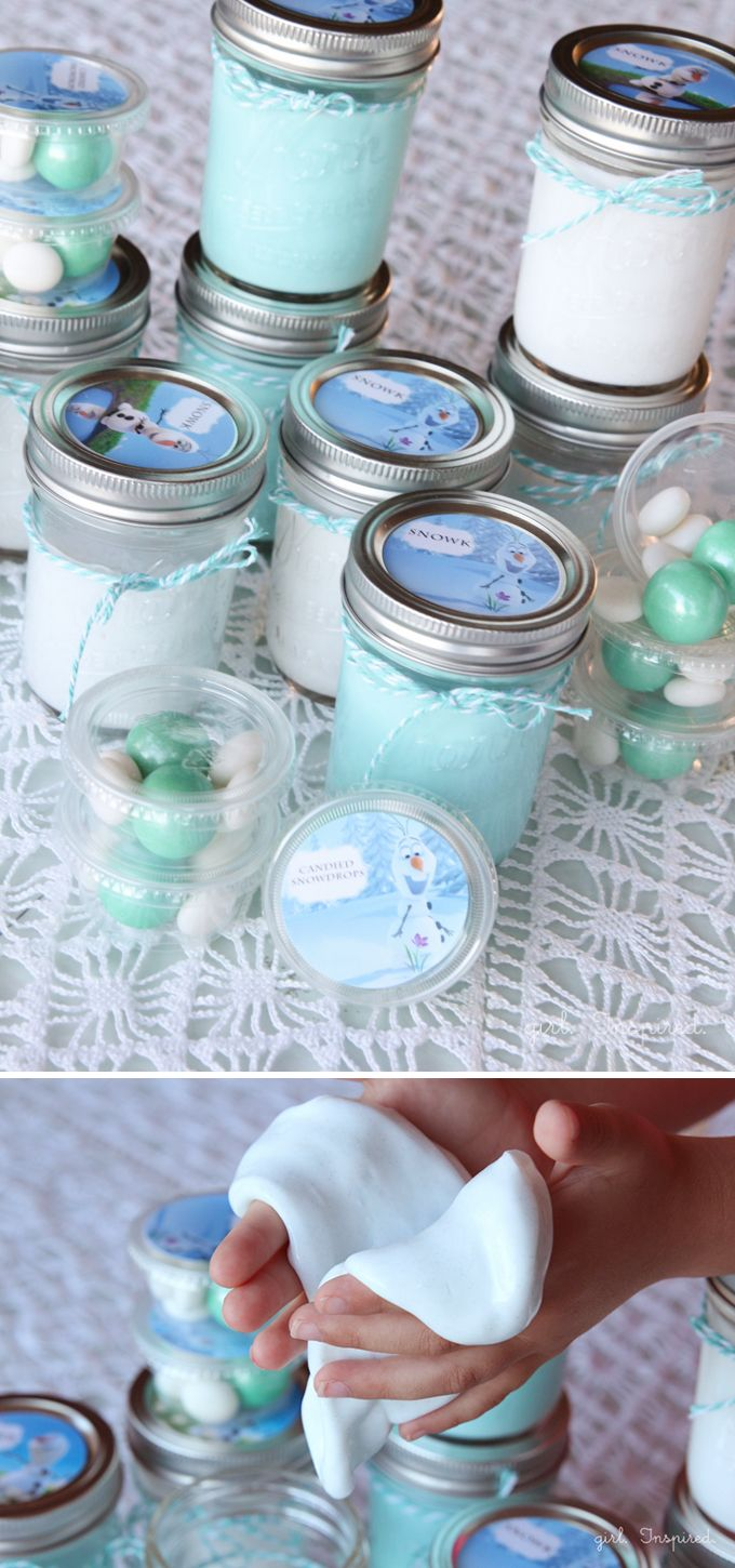 Make Snow GAK for Frozen Birthday Party - plus FREE printable labels