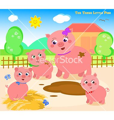 Three little pigs 1 vector