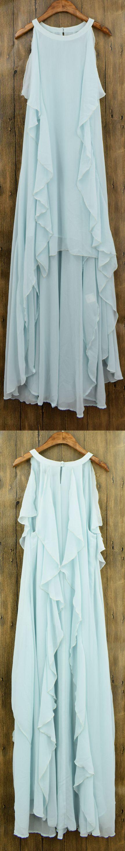 Women's Flounce Decor Sleeveless Asymmetric Chiffon Dress.Check more from www.azbro.com .                                                                                                                                                     More