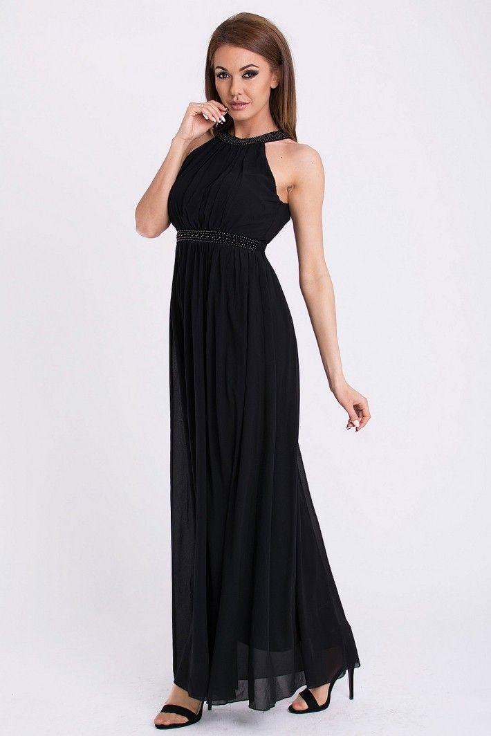 PINK BOOM sukienka wieczorowa kolor czarny. Długa suknia ozdobiona koralikami.  #modadamska #sukienkiwieczorowe #sukienka #suknia #sklepinternetowy #allettante