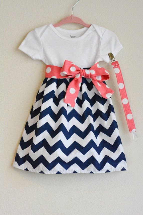 Custom made infant dress, bow, and paci clip- you choose ...
