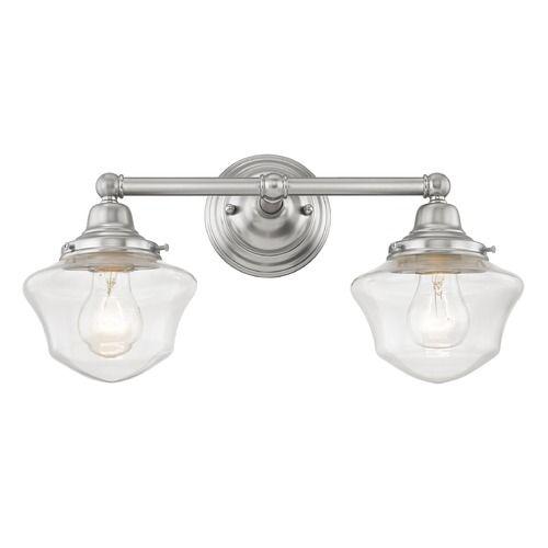 Clear Glass Schoolhouse Bathroom Light Satin Nickel 2 Light 17 Inch Length | WC2-09 GC6-CL | Destination Lighting