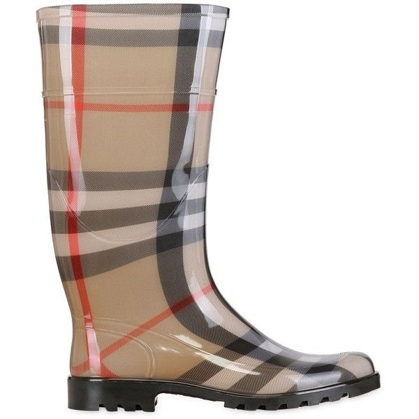 BURBERRY 20mm Lissonb Check Rubber Rain Boots ($275) ❤ liked on Polyvore featuring shoes, boots, beige, wellington boots, burberry, rubber boots, rubber shoes and wellies rubber boots