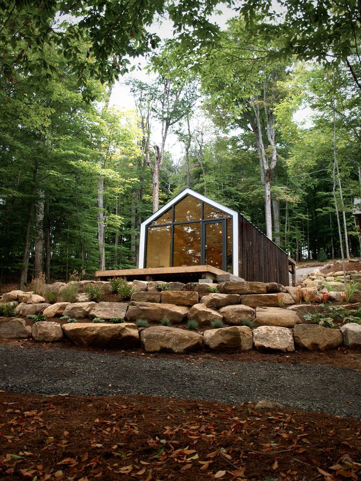 Bigwin Island Bunkie Yoga Studio exterior--This serene lakeside retreat, designed for yoga and exercise, is part furniture design and part architecture. It's a modified Bunkie, or a small prefabricated structure produced the Bunkie Co. that can be rapidly assembled on-site. (7 days)