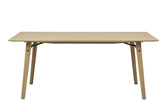 GlobeWest - Sketch Meta Dining Table Black Powdercoated Metal Brackets;  Solid Oak Legs Dimensions:W1800 x D950 x H740mm