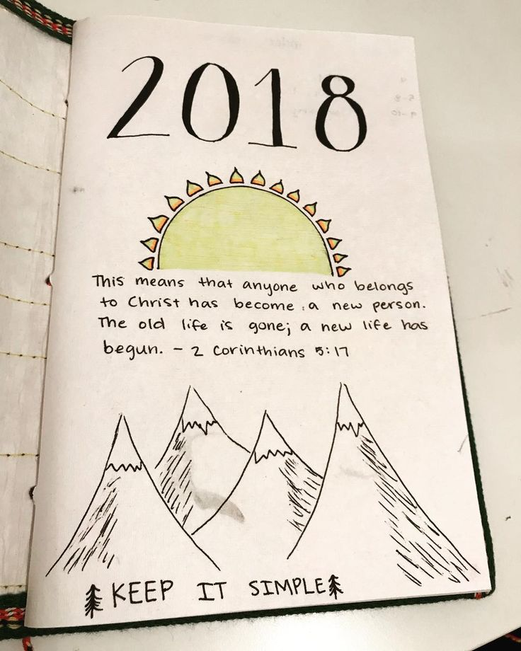 Bullet journal yearly cover page, sun drawing, mountain drawing, Bible quote. | @kaydeefry