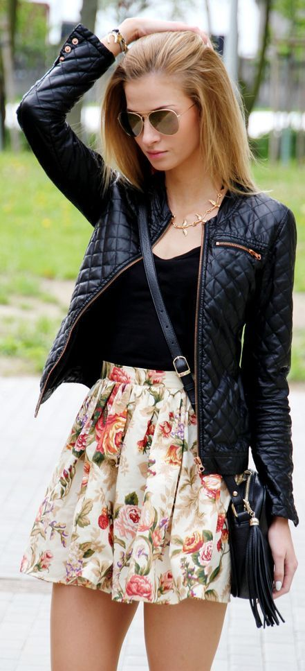 House Black Quilted Moto JAcket + Floral Skirt | F...