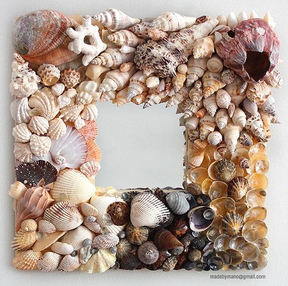 Handmade seashell mirror inspired by the coastline by madebymano, $395.00