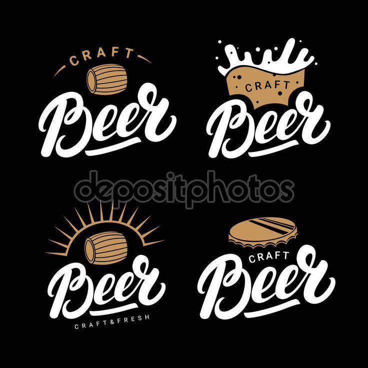 Télécharger - Jeu de bière manuscrite lettrage, logos, étiquettes, badges pour brasserie, brewing company, pub, bar — Illustration #130470578
