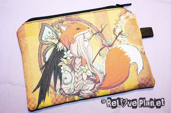 Fox Girl  Coin Purse Wallet  Zippered Pouch  by ReLovePlanet