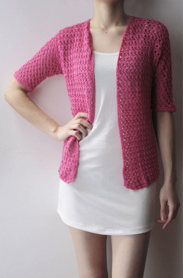 Saco fucsia manga 3/4, tejido crochet artesanal.