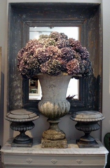 Hydrangeas in an antique urn
