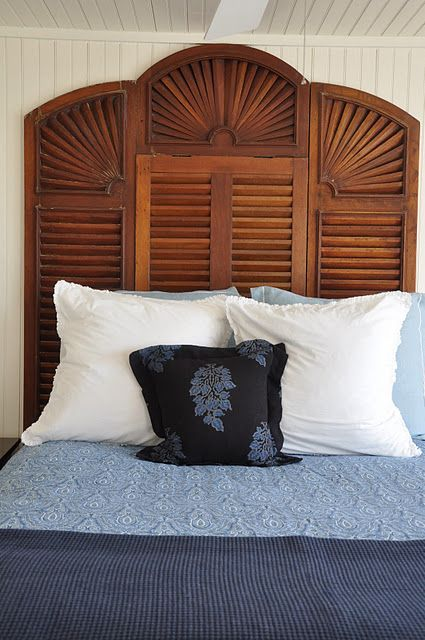 Shutters Repurposed Headboard