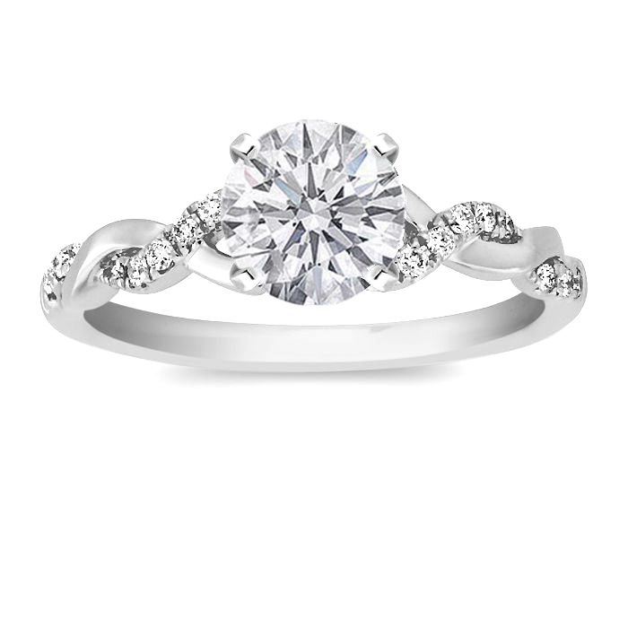 Round Diamond Petite twisted pave band Engagement Ring in 14K White Gold