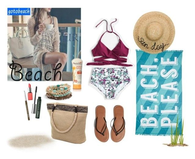 """Out in the Beach"" by wynonnamaree ❤ liked on Polyvore featuring Sunset Hours, Nordstrom Rack, Abercrombie & Fitch, Aveeno, Eugenia Kim, Mudd and Clinique"