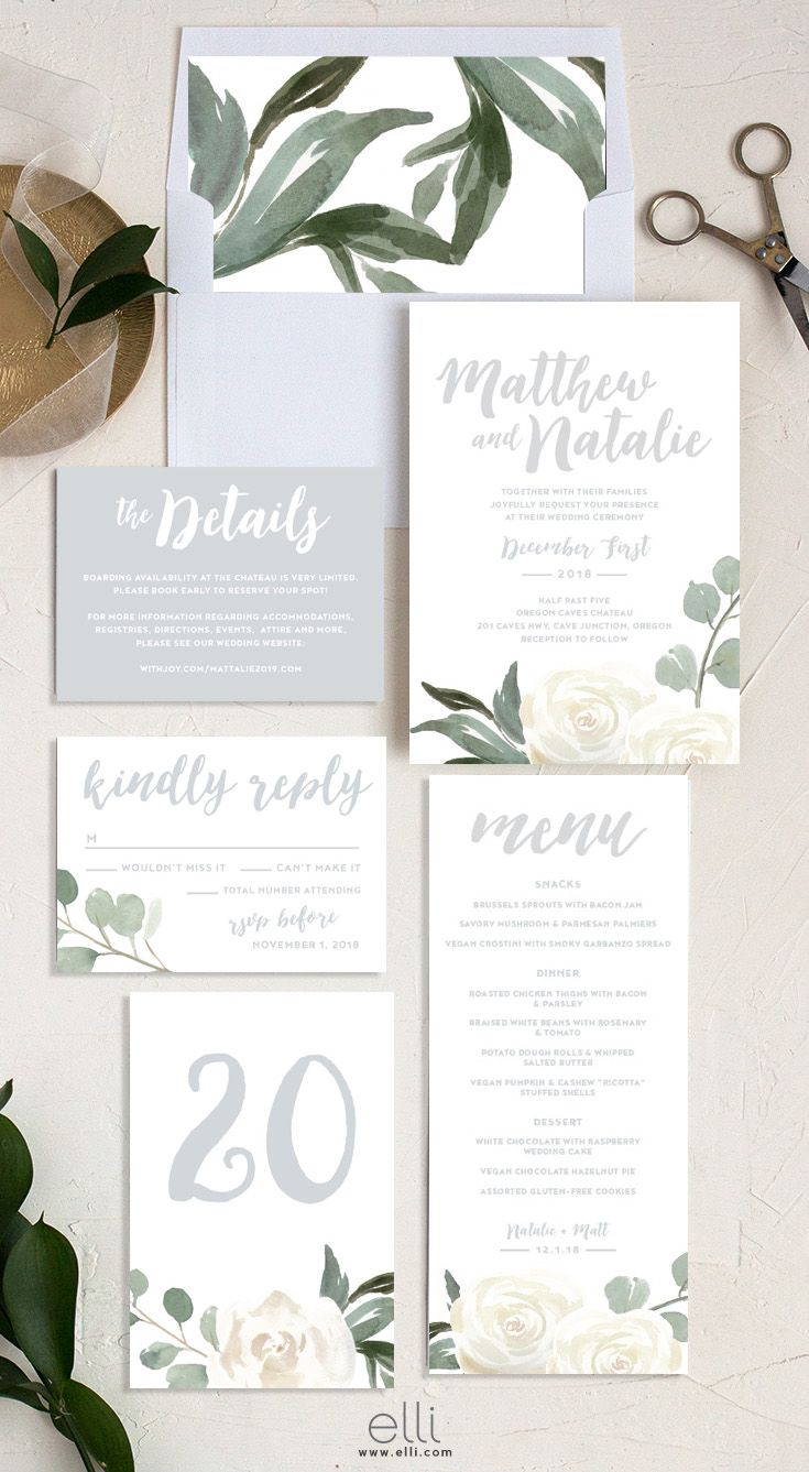 Gorgeous White Flowers And Greenery Decorate This Beautiful Wedding Invitation Sui With Images Beautiful Wedding Invitations Floral Wedding Invitations Wedding Invitations
