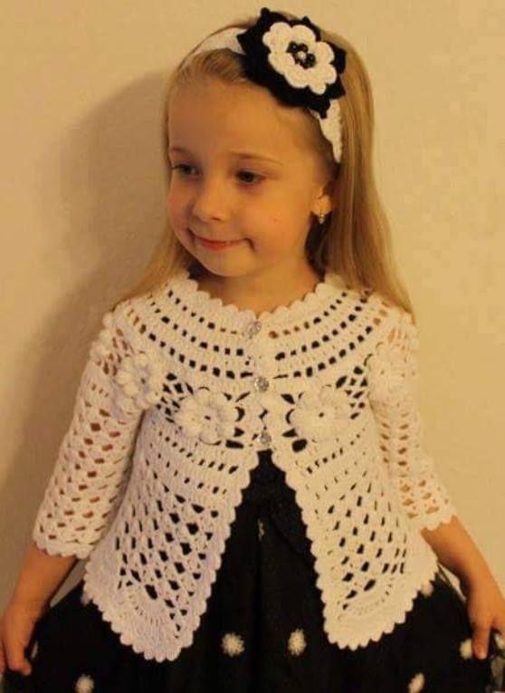 Beyaz kız çocuk örgü hırka - Derya Baykal - Örgü Dantel Modelleri Örnekleri