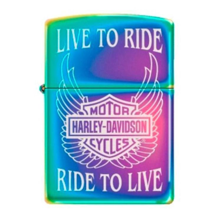Zippo 28248 Classic Harley Davidson Live To Ride Ride To Live Spectrum Finish Windproof Pocket Lighter