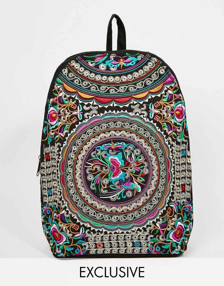 Image 1 ofReclaimed Vintage Embroidered Backpack in Blue floral Pattern