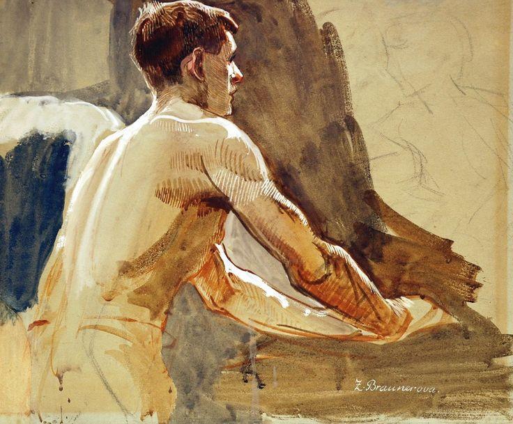Zdenka Braunerová (Czech, 1858-1934), Study of a baker, late19th century. Gouache on paper, 29 x 33.5 cm.