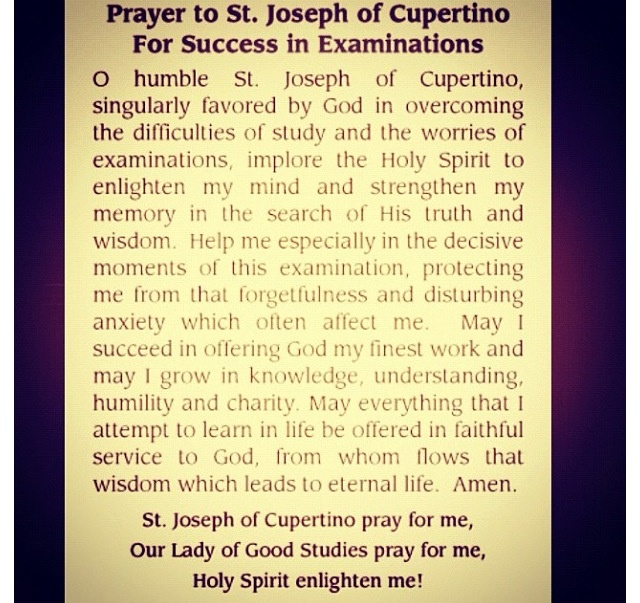 A great prayer for test anxiety.. I say it before every exam!