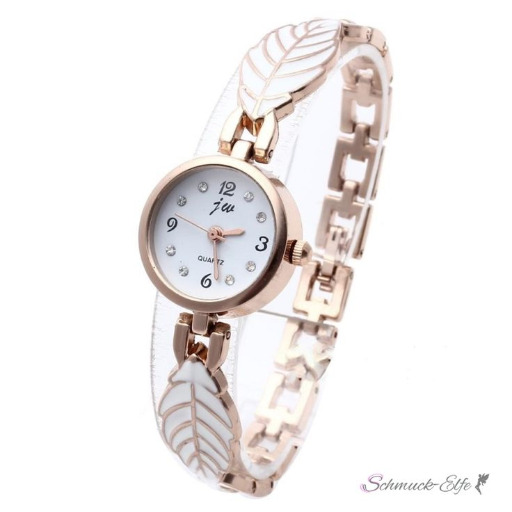 Damen Edelstahl Armbanduhr  Rosegold  Blätterzauber