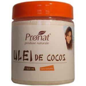 Ulei de cocos nehidrogenat, 500 ml Pentru prajit, gatit si alte 80 de întrebuințări diverse (vezi mai jos....)  Produs 100% natural Obținut prin presarea miezului de nucă de cocos, filtrat, curățat și dezodorizat până când acesta este complet incolor și fără miros.