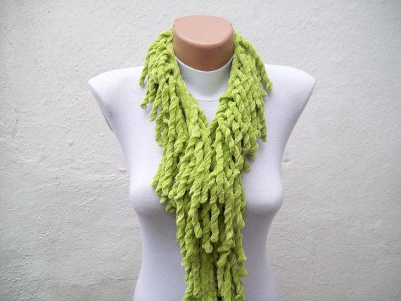 Green  knit scarf  soft velvet  Winter accessories  Fall by nurlu